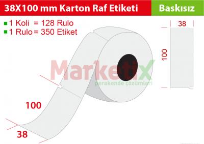 38x100 mm Karton Raf Etiketi
