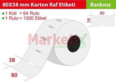 80x38 mm Karton Raf Etiketi